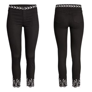 Embroidered Embellished ankle pant crop trouser 4
